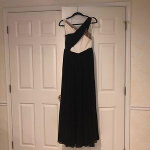 Formal black, white & metallic gown